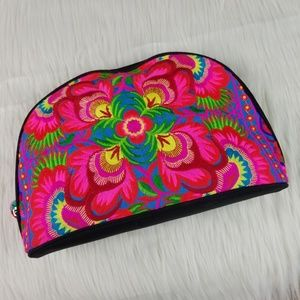 Handbags - Neon Embroidered Large Make Up Bag Clutch Purse
